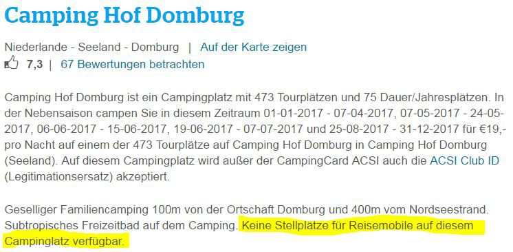 Acsi Karte.Cp Hof Domburg Keine Akzeptanz Der Acsi Karte Fur Womo